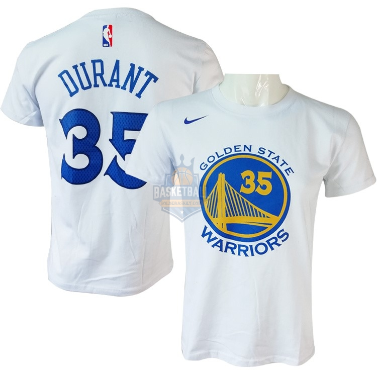 Maillot NBA Golden State Warriors Manche Courte NO.35 Kevin Durant Nike Blanc