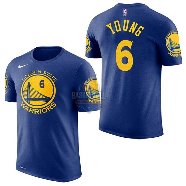 Maillot NBA Golden State Warriors Manche Courte NO.6 Nick Young Bleu 2017-18