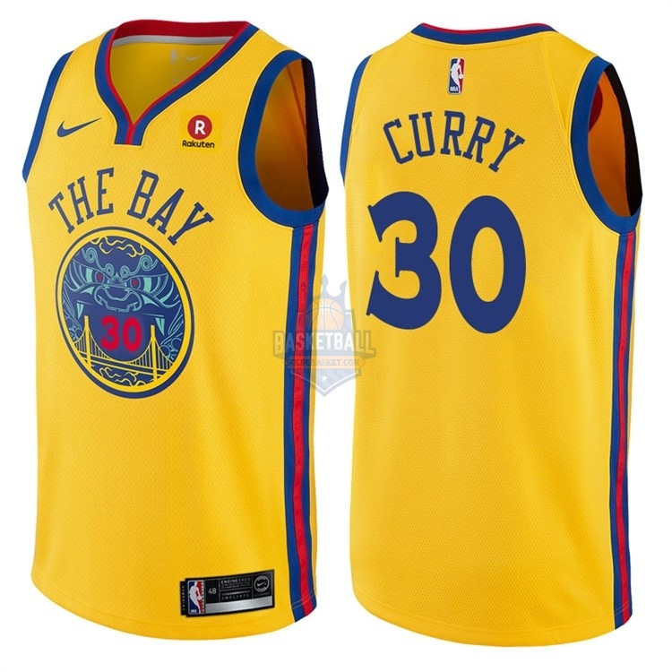 Maillot NBA Golden State Warriors NO.30 Stephen Curry Jaune Ville 2017-18