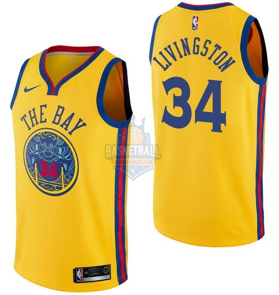 Maillot NBA Golden State Warriors NO.34 Shaun Livingston Nike Jaune Ville 2017-18