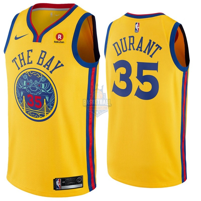 Maillot NBA Golden State Warriors NO.35 Kevin Durant Jaune Ville 2017-18