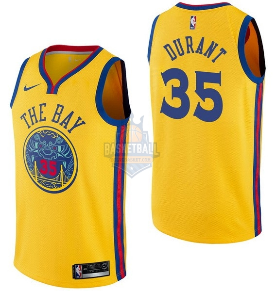 Maillot NBA Golden State Warriors NO.35 Kevin Durant Nike Jaune Ville 2017-18