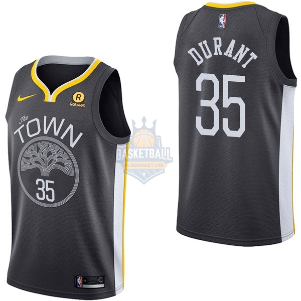 Maillot NBA Golden State Warriors NO.35 Kevin Durant Noir 2017-18