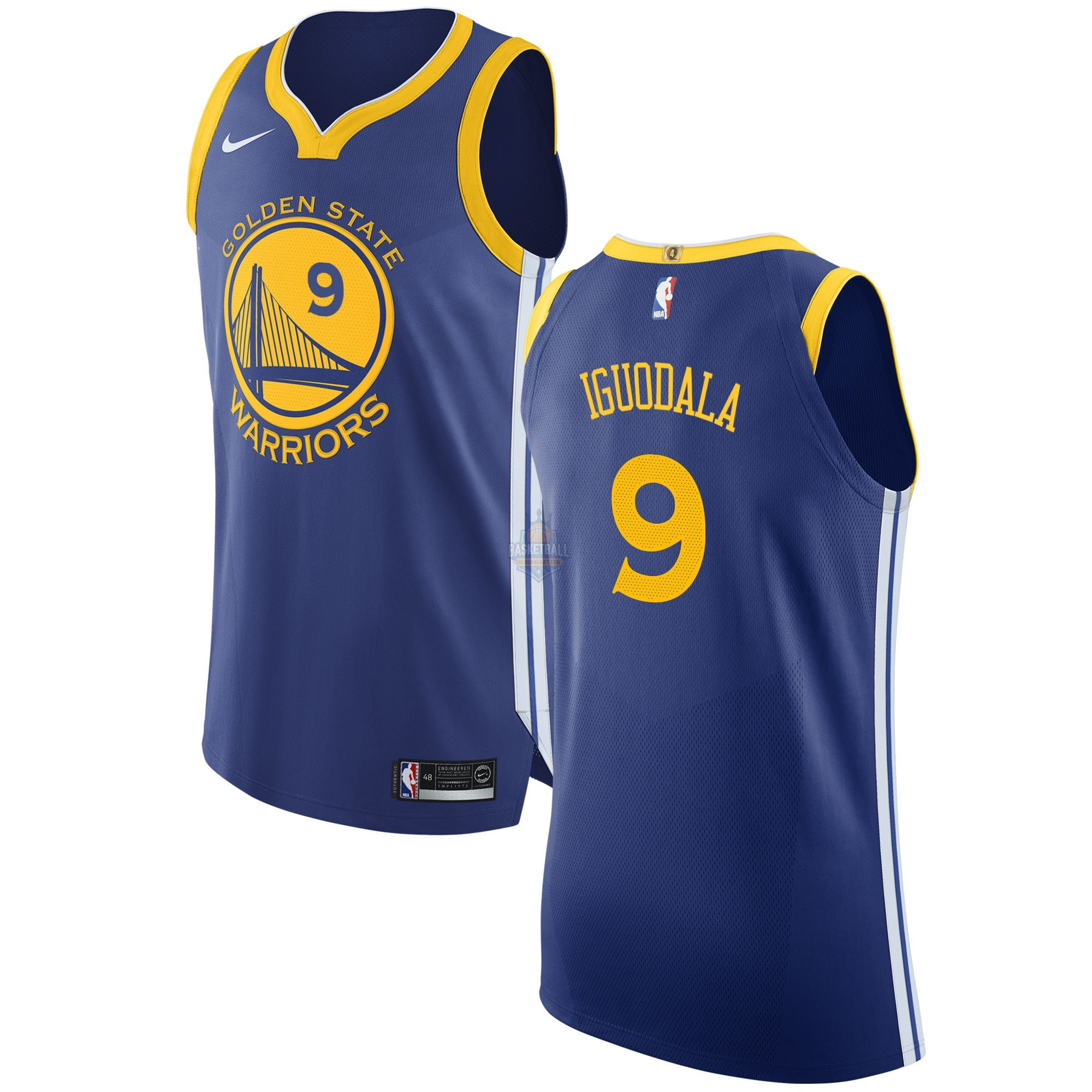 Maillot NBA Golden State Warriors NO.9 Andre Iguodala Bleu Icon 2017-18