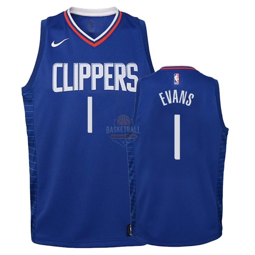 Maillot NBA Enfant Los Angeles Clippers NO.1 Jawun Evans Bleu Icon 2018