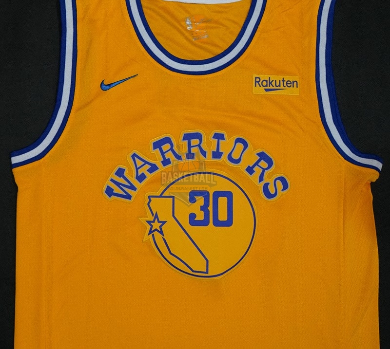 Maillot NBA Nike Golden State Warriors NO.30 Stephen Curry Retro Jaune 2018-19