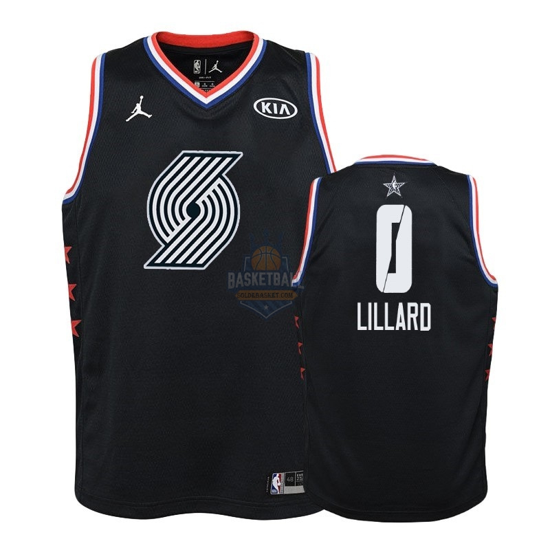 Maillot NBA Enfant 2019 All Star NO.0 Damian Lillard Noir