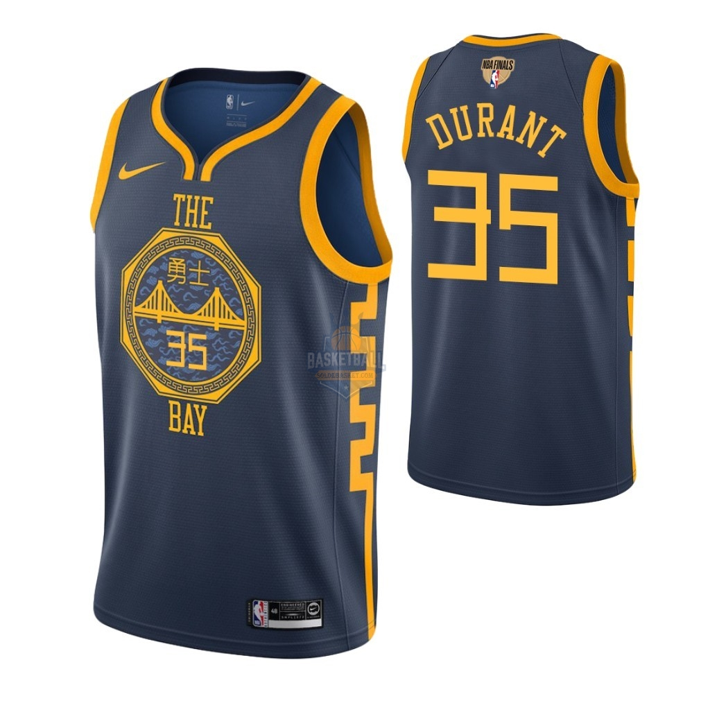 Maillot Golden State Warriors 2019 NBA Finales NO.35 Kevin Durant Marine Ville