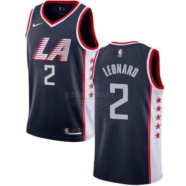 Maillot NBA Enfant Los Angeles Clippers NO.2 Kawhi Leonard Marine Ville 2019-20
