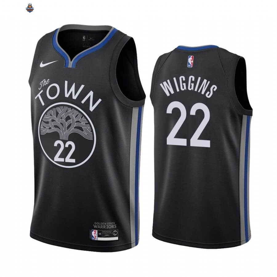 Maillot NBA Nike Golden State Warriors NO.22 Andrew Wiggins Nike Noir Ville 2019-20