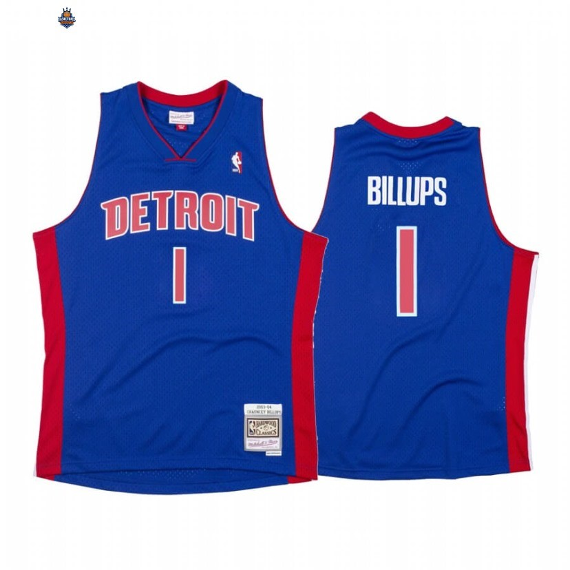 Maillot NBA Detroit Pistons NO.1 Chauncey Billups Bleu Throwback