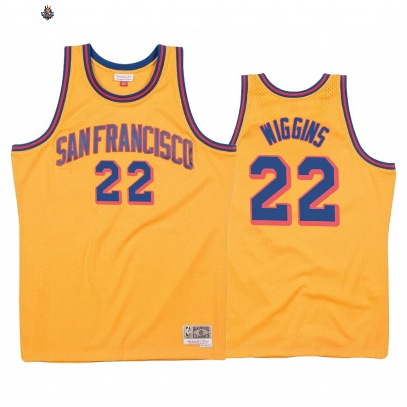 Maillot NBA Golden State Warriors NO.22 Andrew Wiggins Or Hardwood Classics 1962-63