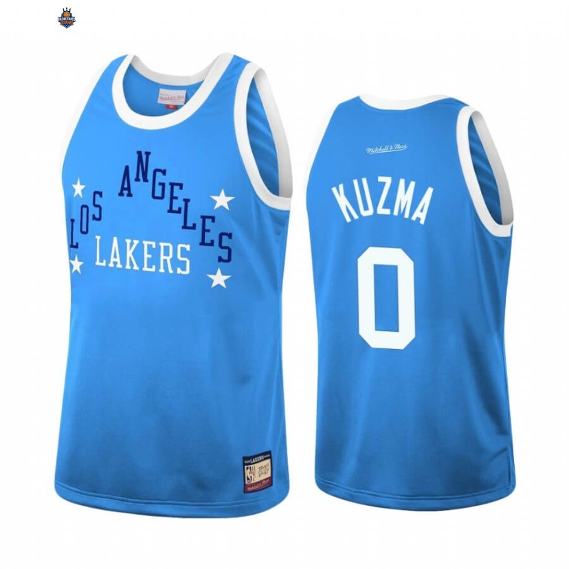 Maillot NBA Los Angeles Lakers NO.0 Kyle Kuzma Team Heritage Bleu Throwback 1959-60