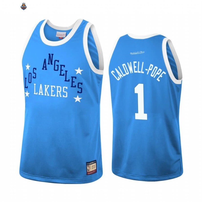 Maillot NBA Los Angeles Lakers NO.1 Kentavious Caldwell Pope Team Heritage Bleu Throwback 1959-60