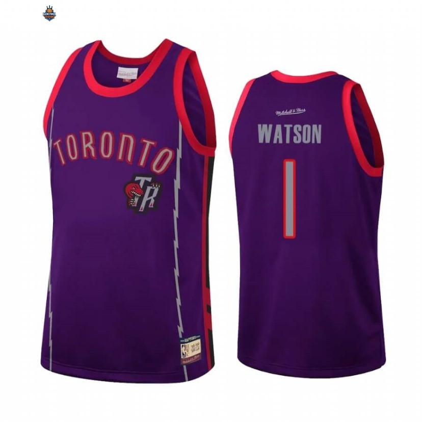 Maillot NBA Toronto Raptors NO.1 Paul Watson Team Heritage Pourpre Throwback
