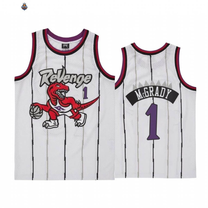 Maillot NBA Toronto Raptors NO.1 Tracy McGrady Revenge Blanc Throwback