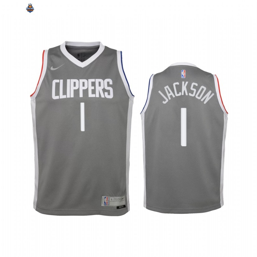 Maillot NBA Enfant Earned Edition Los Angeles Clippers NO.1 Reggie Jackson Gris 2021