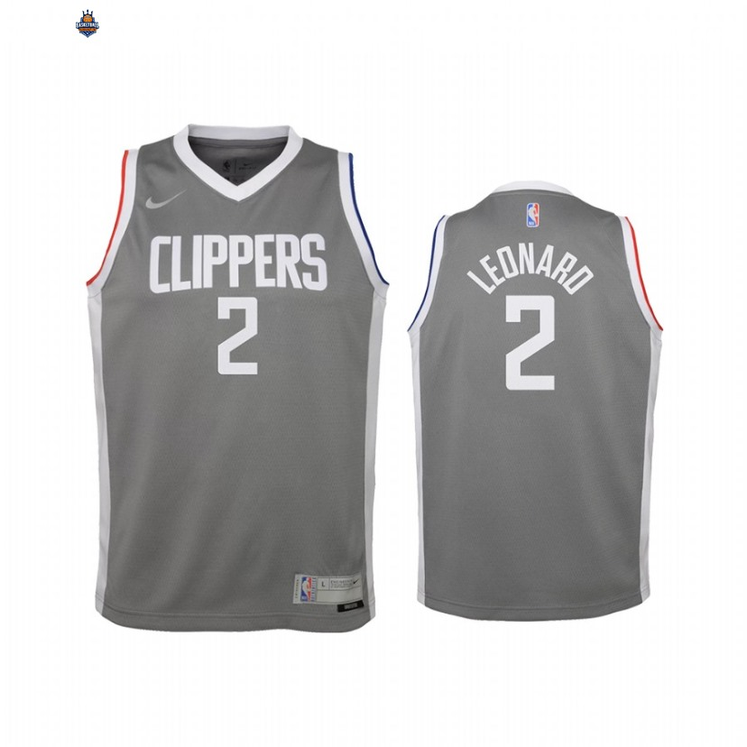 Maillot NBA Enfant Earned Edition Los Angeles Clippers NO.2 Kawhi Leonard Gris 2021