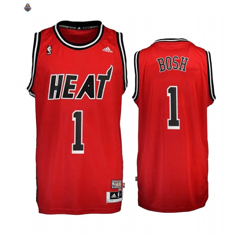 Maillot NBA Miami Heat NO.1 Chris Bosh Rouge Throwback 2010-17