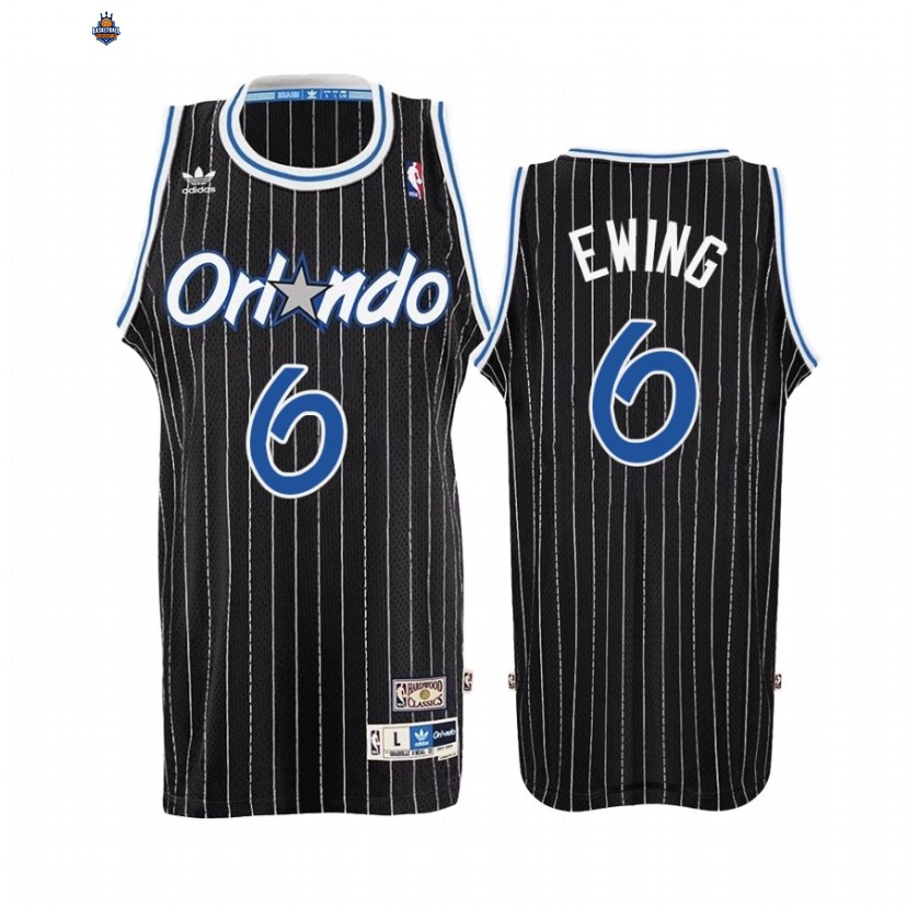 Maillot NBA Orlando Magic NO.0 Patrick Ewing Noir Throwback