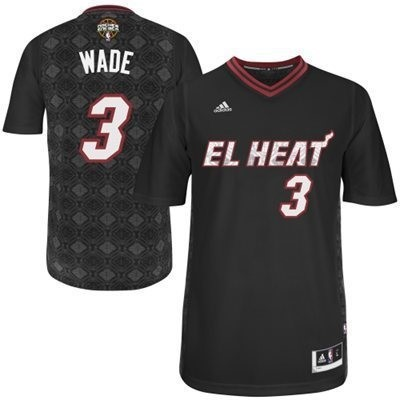 Maillot NBA Nuits Latine Miami Heat Manche Courte NO.3 Wade Noir