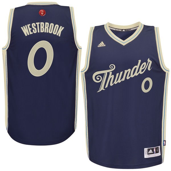 Maillot NBA Oklahoma City Thunder 2015 Noël NO.0 Westbrook Bleu