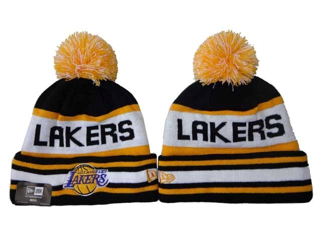 Tricoter un Bonnet NBA 2017 Los Angeles Lakers Jaune Blanc NO.01