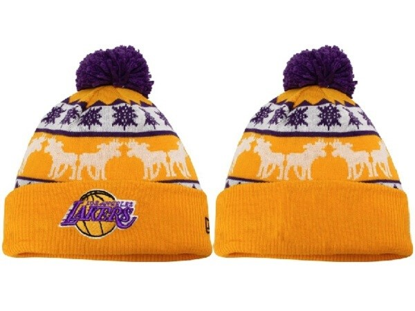 Tricoter un Bonnet NBA 2017 Los Angeles Lakers Jaune NO.01