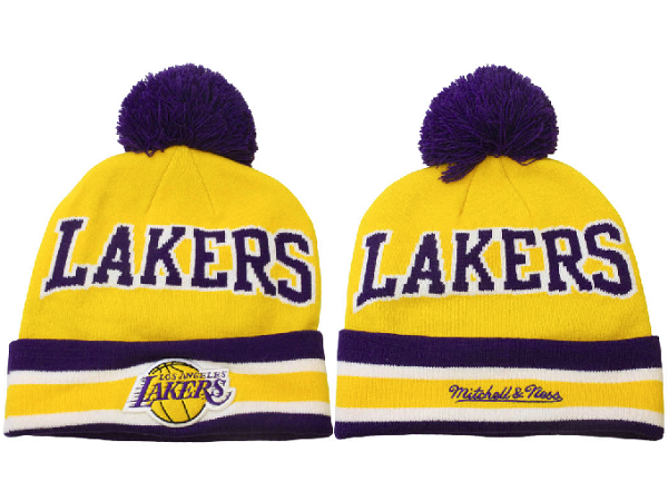 Tricoter un Bonnet NBA 2017 Los Angeles Lakers Jaune NO.02