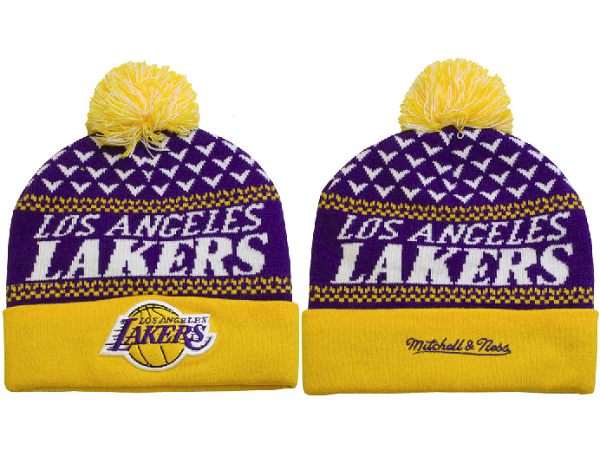 Tricoter un Bonnet NBA 2017 Los Angeles Lakers Pourpre Jaune NO.01