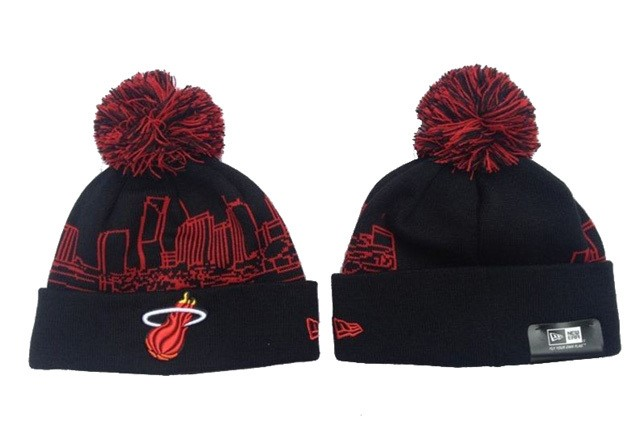 Tricoter un Bonnet NBA 2017 Miami Heat Noir Rouge NO.01