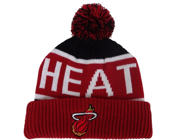Tricoter un Bonnet NBA 2017 Miami Heat Rouge Blanc Noir NO.02