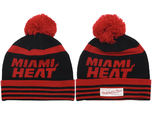 Tricoter un Bonnet NBA 2017 Miami Heat Rouge Noir NO.01